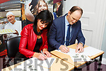 Mary Lucey and TJ O'Connor sign the Memorandum of Agreement between KCFE and Bons Secours Hospital at the KCFE in Denny St on Thursday.