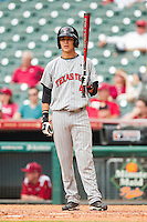 Matt Eureste #4 of the Texas Tech Red Raiders looks to his third base coach for the sign during the game against the Arkansas Razorbacks at Minute Maid Park on March 2, 2012 in Houston, Texas.  The Razorbacks defeated the Red Raiders 3-1. (Brian Westerholt/Four Seam Images)