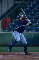 AZL Padres 1 Luis Paez (1) at bat during an Arizona League game against the AZL Angels on July 16, 2019 at Tempe Diablo Stadium in Tempe, Arizona. The AZL Padres 1 defeated the AZL Angels 3-1. (Zachary Lucy/Four Seam Images)
