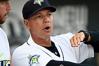 Pedro Lopez (32) directs his first game as manager of the Columbia Fireflies against the Augusta GreenJackets on Opening Day, Thursday, April 5, 2018, at Spirit Communications Park in Columbia, South Carolina. Columbia won, 4-2. (Tom Priddy/Four Seam Images)