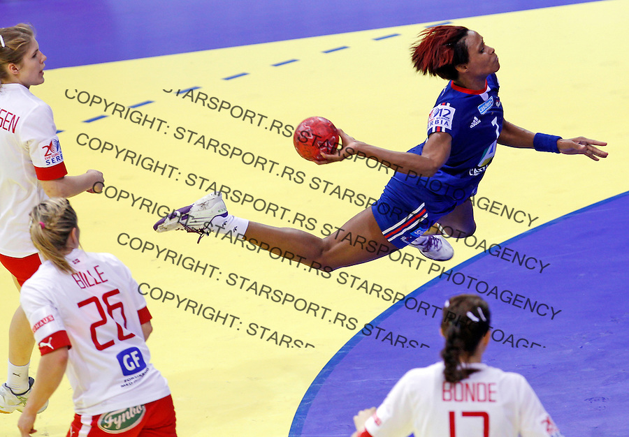 NIS, SERBIA 6/12/2012/ Allison Pineau of France in action during Women`s European Handball Championship EHF EURO 2012 match between Denmark and France in Cair arena in city of Nis in southern Serbia on  December 6, 2012 Credit: PEDJA MILOSAVLJEVIC/SIPA/