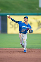 Ogden Raptors second baseman Jeremy Arocho (8) throws to first base during a Pioneer League game against the Orem Owlz at Home of the OWLZ on August 24, 2018 in Orem, Utah. The Ogden Raptors defeated the Orem Owlz by a score of 13-5. (Zachary Lucy/Four Seam Images)