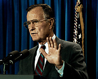 ***FILE PHOTO*** George H.W. Bush Has Passed Away<br /> Washington, DC., USA, October 4, 1991<br /> President George H.W. Bush conducts a mini news conference in the press briefing room of the White House. <br /> CAP/MPI/MRN<br /> &copy;MRN/MPI/Capital Pictures