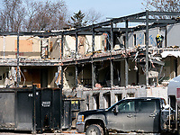 Nurses residence at former Sarnia General Hospital is demolished.