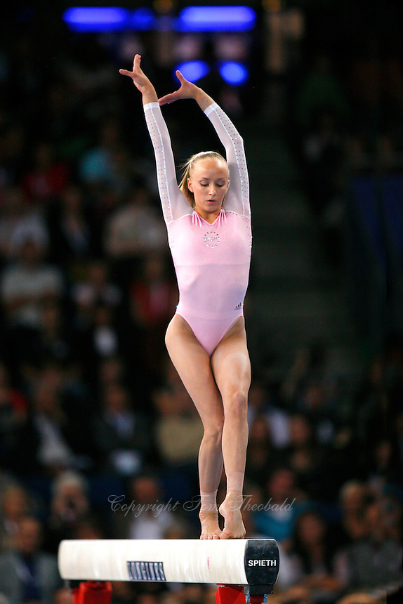 September 9, 2007; Stuttgart, Germany;  Anastasia Liukin of USA performs on balance beam during event finals in women's artistic gymnastics at 2007 World Championships.  Photo by Copyright 2007 by Tom Theobald.