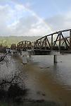 rainbow and bridge over Russian River