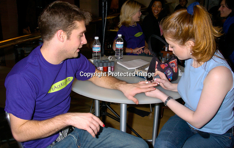 Brock Cuchna and Melissa Archer ..at Bendels for Peacekeeper Cause-metics  on February 7, 2004. The soap stars gave manicures to fans. Photo by Robin Platzer, Twin Images