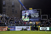 A tribute to the late Seru Rabeni is shown on the big screen at half-time. Aviva Premiership match, between Bath Rugby and Newcastle Falcons on March 18, 2016 at the Recreation Ground in Bath, England. Photo by: Patrick Khachfe / Onside Images