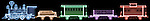 X-ray image of a toy train (color on black) by Jim Wehtje, specialist in x-ray art and design images.
