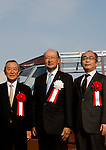 "November 14, 2011 : Tokyo, Japan - (L)Takaaki Yamazaki, (C) Hiroyasu Tomita, and (R) Kouji Horikawa are posing for pictures during the press conference of ""Tokyo's First Amphibian Bus Sky Duck"" at the Wakasu Kaihin park in Tokyo. Hinomaru Limousine Inc. announced Tokyo's new way of sightseeing Sky Duck bus tour. Tokyo is one of the greatest tourism places in the world, and they would like to emphasis Tokyo as a city of waterways for the next step. In addition, this bus would be used as a delivery car when any national disaster happens. (Photo by Yumeto Yamazaki/AFLO)"