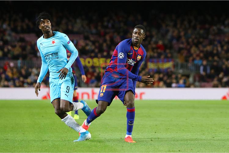 UEFA Champions League 2019/2020.<br /> Matchday 4.<br /> FC Barcelona vs SK Slavia Praha: 0-0.<br /> Peter Olayinka vs Ousmane Dembele.