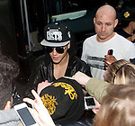 EXCLUSIVE PHOTOS - Justin Bieber touring in Belgium - Justin Bieber arrived from France in Belgium-Brussels,  on April 9th at 4 am with his black/grey touring bus &quot;  Beat the street &quot;.<br /> He checked into the  &quot; Steigenberger &quot;  hotel in Brussels. A few hours later, his fans were surrounding the front and back entrance of his hotel, that the security of the hotel could not handle such a craziness and had to get some big help from the brussels police. About 40 police officers arrived to surround the hotel to protect the star who had two concerts in the city of Antwerp. But Justin asked the police to leave, which they did after a while!! Justin kept hiding in the hotel between the fitness center kept opened only for him, as well the swimming pool where he did some water polo with his musicians. The bar of the hotel even got closed to the guests of the hotel around 6pm, to let justin enjoying the bar. On the first day of his concert, Justin escaped his fans by jumping from his Mercedes van into his tour bus, hided by his bodyguards. Justin's musicians even played the piano at the piano bar  of the hotel, singing Elton John's songs! It's only on his 3rd and last day in Brussels  ( April11th ) that Justin Bieber finally agreed to meet with his fans on the street. Brussels, April 10th &amp; 11th, 2013.