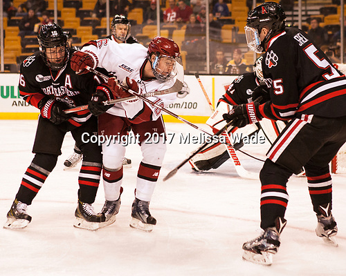 Brendan Collier (NU - 16), Ryan Donato (Harvard - 16), Ryan Shea (NU - 5) - The Harvard University Crimson defeated the Northeastern University Huskies 4-3 in the opening game of the 2017 Beanpot on Monday, February 6, 2017, at TD Garden in Boston, Massachusetts.