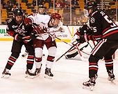 Brendan Collier (NU - 16), Ryan Donato (Harvard - 16), Ryan Shea (NU - 5) - The Harvard University Crimson defeated the Northeastern University Huskies 4-3 in the opening game of the 2017 Beanpot on Monday, February 6, 2017, at TD Garden in Boston, Massachusetts.