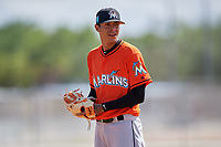 Miami Marlins pitcher Jorgan Cavanerio (19) during a Minor League Spring Training game against the St. Louis Cardinals on March 26, 2018 at the Roger Dean Stadium Complex in Jupiter, Florida.  (Mike Janes/Four Seam Images)