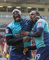 Myles Weston celebrates scoring his goal with Adebayo Akinfenwa of Wycombe Wanderers after making it 2 0 during the Sky Bet League 2 match between Leyton Orient and Wycombe Wanderers at the Matchroom Stadium, London, England on 1 April 2017. Photo by Andy Rowland.