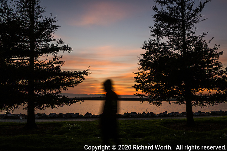 Slow shutter motion blur adds a touch of mystery to an image of a sunset and a passing visitor.