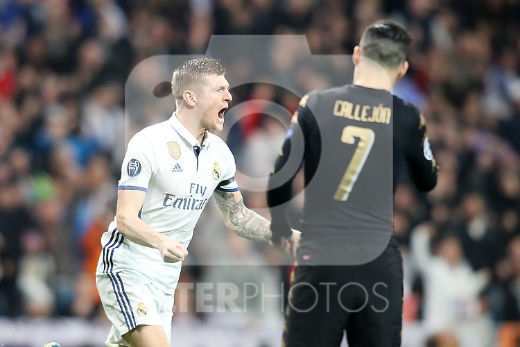 Real Madrid's Toni Kroos celebrates goal in presence of SSC Napoli's  Jose Callejon during Champions League 2016/2017 Round of 16 1st leg match. February 15,2017. (ALTERPHOTOS/Acero)