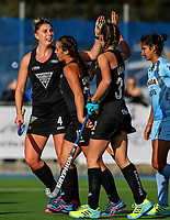 Madison Doar celebrates with Olivia Merry during the international hockey match between the Blacksticks Women and India, Rosa Birch Park, Pukekohe, New Zealand. Sunday 14  May 2017. Photo:Simon Watts / www.bwmedia.co.nz