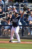 Tampa Bay Rays infielder Vince Belnome (30) during a spring training game against the Minnesota Twins on March 2, 2014 at Charlotte Sports Park in Port Charlotte, Florida.  Tampa Bay defeated Minnesota 6-3.  (Mike Janes/Four Seam Images)
