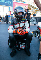 Oct 11, 2019; Concord, NC, USA; NHRA pro stock motorcycle rider Steve Johnson during qualifying for the Carolina Nationals at zMax Dragway. Mandatory Credit: Mark J. Rebilas-USA TODAY Sports