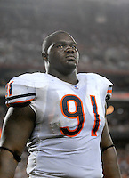 Oct. 16, 2006; Glendale, AZ, USA; Chicago Bears defensive tackle (91) Tommie Harris against the Arizona Cardinals at University of Phoenix Stadium in Glendale, AZ. Mandatory Credit: Mark J. Rebilas