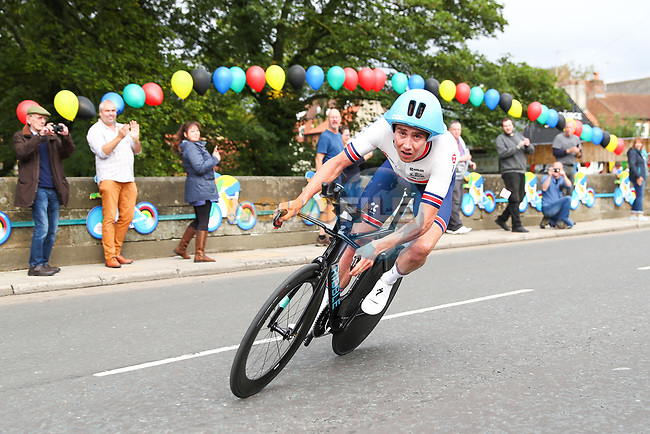 John Archibald of Great Britain in action during the Men Elite Individual Time Trial of the UCI World Championships 2019 running 54km from Northallerton to Harrogate, England. 25th September 2019.<br /> Picture: Alex Whitehead/SWpix.com | Cyclefile<br /> <br /> All photos usage must carry mandatory copyright credit (© Cyclefile | Alex Whitehead/SWpix.com)