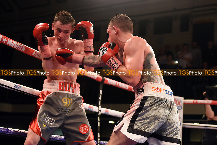Craig Poxton (grey shorts) defeats Boy Jones Jnr to win the Southern Area Super-Featherweight Title during a Boxing Show at York Hall on 24th February 2017