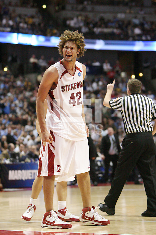 22 March 2008: Stanford Cardinal Robin Lopez during Stanford's 82-81 overtime win against the Marquette Golden Eagles in the 2008 NCAA Men's Basketball Tournament second round game at the Honda Center in Anaheim, CA.
