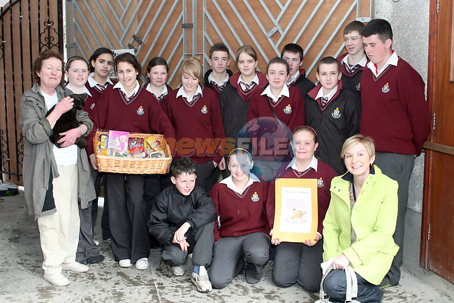 Hamper Presentation from St. Olivers first year Students to Drogheda Animal Rescue...Photo NEWSFILE/Jenny Matthews.(Photo credit should read Jenny Matthews/NEWSFILE)....This Picture has been sent you under the condtions enclosed by:.Newsfile Ltd..The Studio,.Millmount Abbey,.Drogheda,.Co Meath..Ireland..Tel: +353(0)41-9871240.Fax: +353(0)41-9871260.GSM: +353(0)86-2500958.email: pictures@newsfile.ie.www.newsfile.ie.FTP: 193.120.102.198.