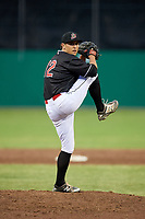 Batavia Muckdogs relief pitcher Karl Craigie (12) delivers a pitch during a game against the Williamsport Crosscutters on June 22, 2018 at Dwyer Stadium in Batavia, New York.  Williamsport defeated Batavia 9-7.  (Mike Janes/Four Seam Images)