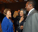 Anne Clutterbuck with Tina and Mathew Knowles at the City of Houston's Birthday Bash at the George R. Brown Convention Center Tuesday Aug. 19,2008.(Dave Rossman/For the Chronicle)