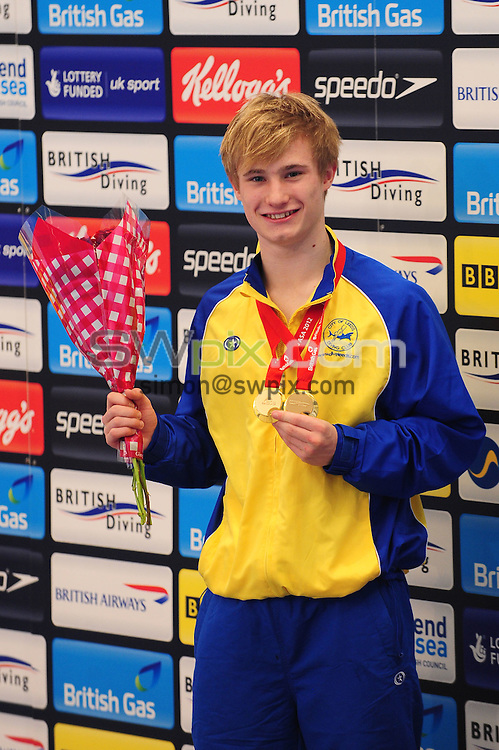 PICTURE BY ALEX BROADWAY/SWPIX.COM - Diving - British Gas National Cup Championships 2012 - Southend Swimming and Diving Centre, Southend, England - 28/01/12 - Jack Laugher of City of Leeds DC poses with his gold medal after winning the Men's 3m Final.