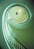 Mississippi state capitol building interior showing spiral staircase and dome. Jackson MS USA.