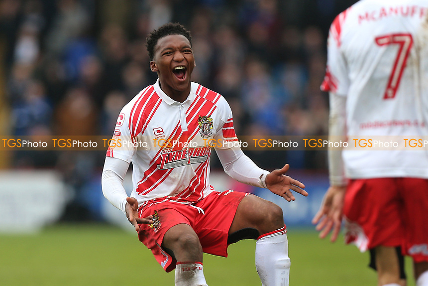 Kgosi Ntlhe of Stevenage celebrates after the third goal goes in during Stevenage vs Portsmouth, Sky Bet EFL League 2 Football at the Lamex Stadium on 18th March 2017