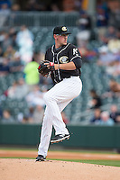 Charlotte Knights starting pitcher Chris Beck (16) in action against the Toledo Mud Hens at BB&T BallPark on April 27, 2015 in Charlotte, North Carolina.  The Knights defeated the Mud Hens 7-6 in 10 innings.   (Brian Westerholt/Four Seam Images)