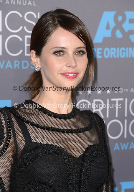 Felicity Jones attends The 20th ANNUAL CRITICS' CHOICE AWARDS held at The Hollywood Palladium Theater  in Hollywood, California on January 15,2015                                                                               © 2015 Hollywood Press Agency
