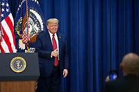 United States President Donald J. Trump arrives to deliver remarks to National Border Patrol Council Members in the South Court Auditorium of the White House in Washington D.C., U.S. on Friday, February 14, 2020.<br /> <br /> Credit: Stefani Reynolds / CNP /MediaPunch