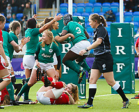 9th February 2020; Energia Park, Dublin, Leinster, Ireland; International Womens Rugby, Six Nations, Ireland versus Wales; Linda Djougang of Ireland celebrates scoring a try for 22 - 5