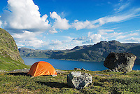 Campsite above lake Bygdin in Norway's Jotunheimen national park