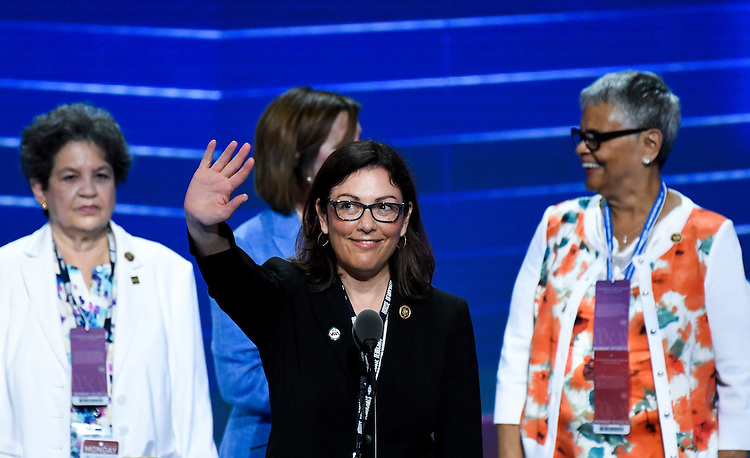 UNITED STATES - JULY 25: Rep. Suzan DelBene, D-Wash., waves during her sound check at the Democratic National Convention in Philadelphia on Monday, July 25, 2016. (Photo By Bill Clark/CQ Roll Call)