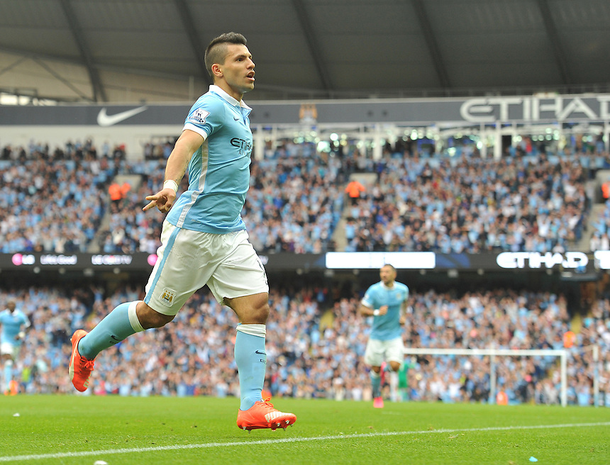 Manchester City's Sergio Aguero celebrates scoring the opening goal <br /> <br /> Photographer Dave Howarth/CameraSport<br /> <br /> Football - Barclays Premiership - Manchester City v Chelsea - Sunday 16th August 2015 - Etihad Stadium - Manchester<br /> <br /> &copy; CameraSport - 43 Linden Ave. Countesthorpe. Leicester. England. LE8 5PG - Tel: +44 (0) 116 277 4147 - admin@camerasport.com - www.camerasport.com