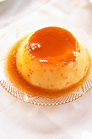 Creme caramel type of pudding with caramel sauce. Berat lower town. Albania, Balkan, Europe.