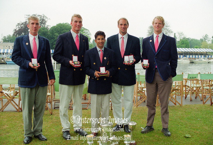 Henley Royal Regatta 1995, Prince Phillip, winners. left to right.  Joe MICHELS, Matthew PINSENT, Neil CHUGANI, Steven REDGRAVE and Larry REED, [Mandatory Credit: Peter SPURRIER/Intersport Images]