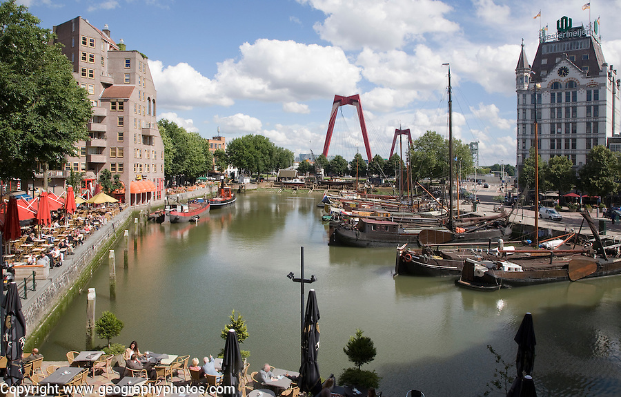 Historic boats and waterfront restaurants, Oude Haven, Rotterdam, Netherlands
