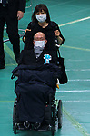 Japan's opposition Reiwa Shinsengumi lawmaker and a neurological disease ALS patient, Yasuhiko Funago wearing face masks attends the memorial service for the war dead of World War II marking the 75th anniversary in Tokyo, Japan on August 15, 2020. (Photo by AFLO)