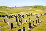 Burial ground set in machair grassland at Allathasdal, Barra, Outer Hebrides, Scotland, UK