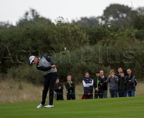 18.10.2014. The London Golf Club, Ash, England. The Volvo World Match Play Golf Championship.  Day 4 quarter final matches.  Mikko Ilonen [FIN] second shot fifth hole.