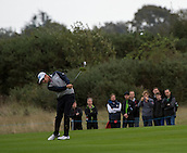18.10.2014. The London Golf Club, Ash, England. The Volvo World Match Play Golf Championship.  Day 4 quarter final matches.  Mikko Ilonen [FIN] second shot fifth hole.