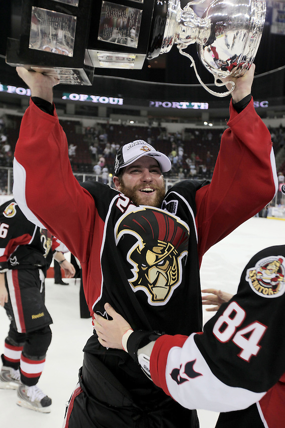 Binghamton Senators players celebrate after game six of the AHL Calder Cup Finals, Tuesday, June 7, 2011, in Houston. Binghamton won 3-2 to win the championship. (Darren Abate/pressphotointl.com/AHL)